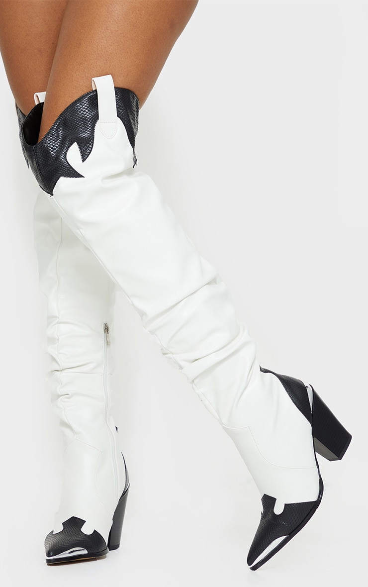 White Slouchy Thigh High Western Boots 1