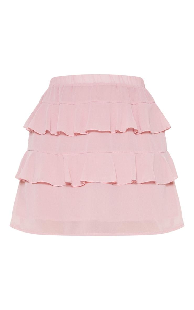 Dusty Rose Ruffle Mini Skirt 3