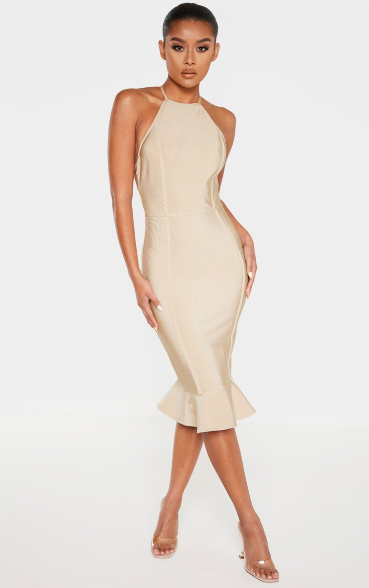 Champagne Bandage Cross Strap Open Back Frill Hem Midi Dress 1