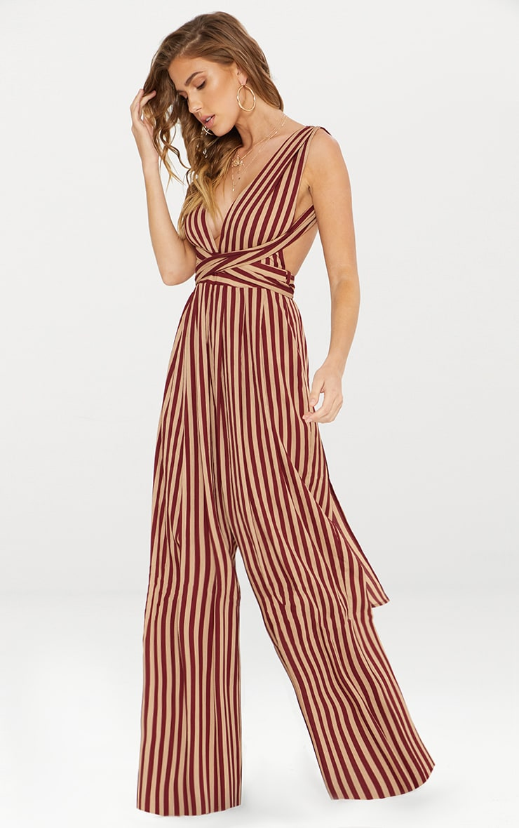 Camel Stripe Tie Waist Jumpsuit  1