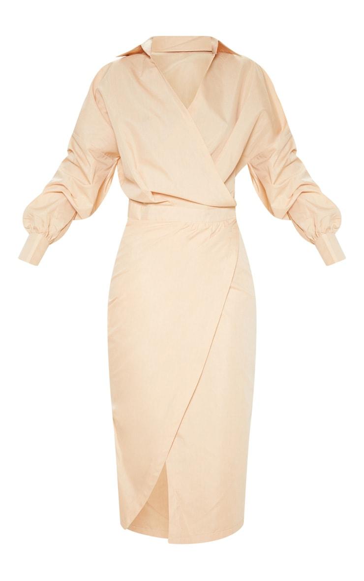 Robe fauve mi-longue style chemise 3