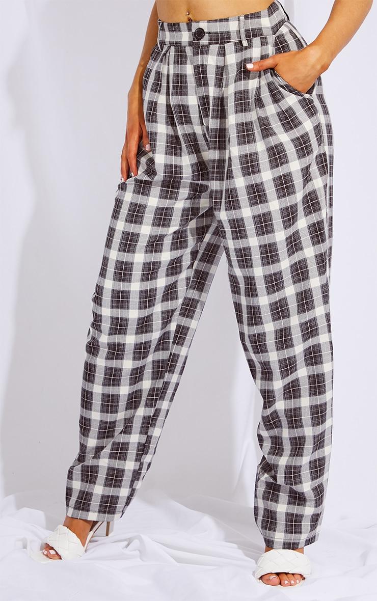 Black Check Print High Waist Balloon Pants 2