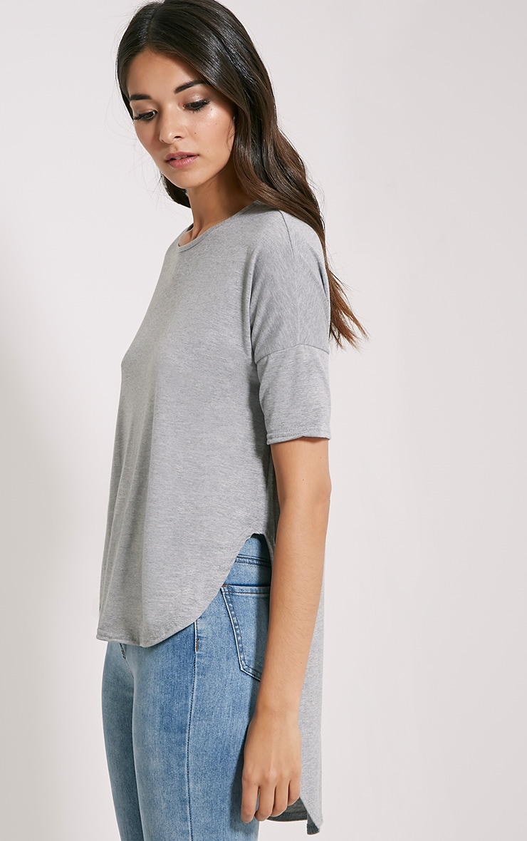 Basic Grey Dip Hem Loose T-Shirt 4