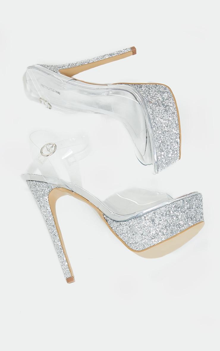 Silver Glitter Extreme Platform Clear Strappy Heel 3