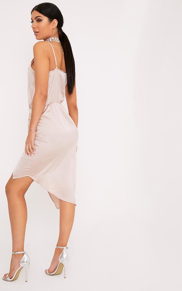 Kala Champagne Satin Twist Front Midi Dress 2