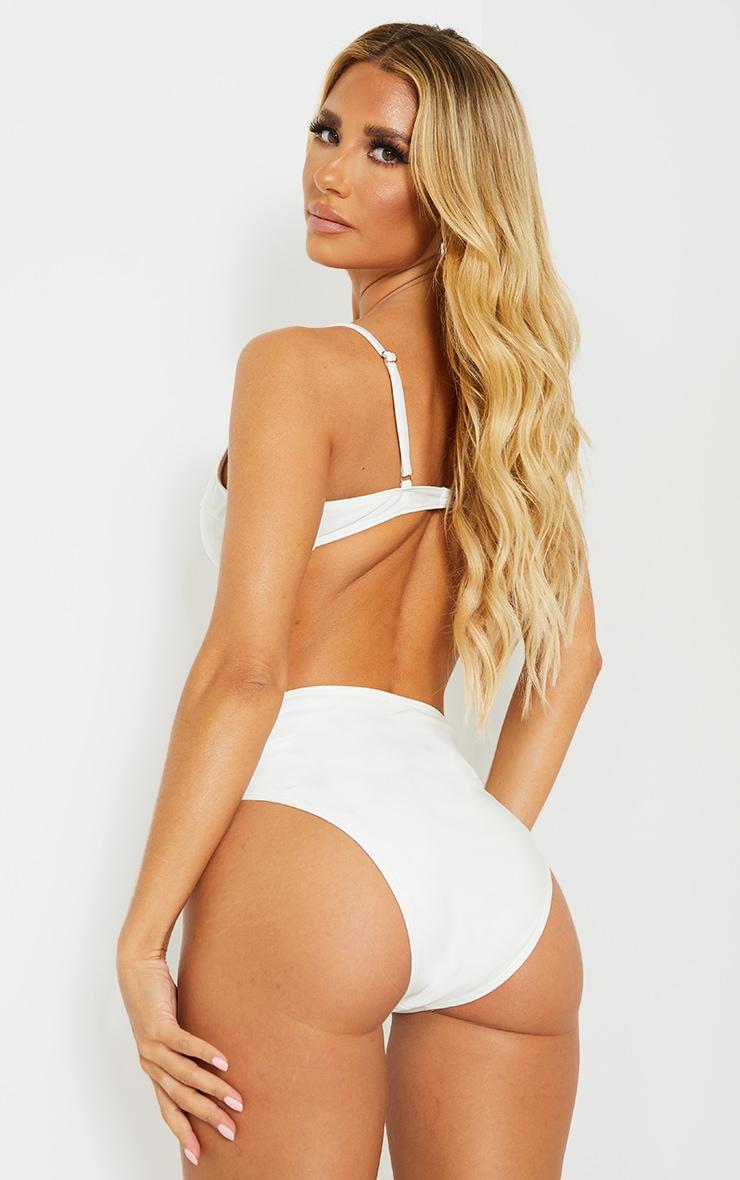 White Mix & Match Recycled Fabric Balconette Bikini Top 2