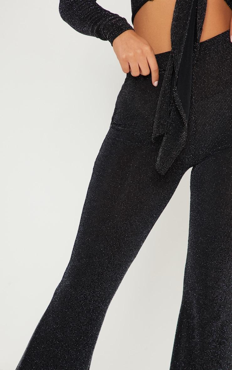 Black Glitter Flared Leg Pants 5