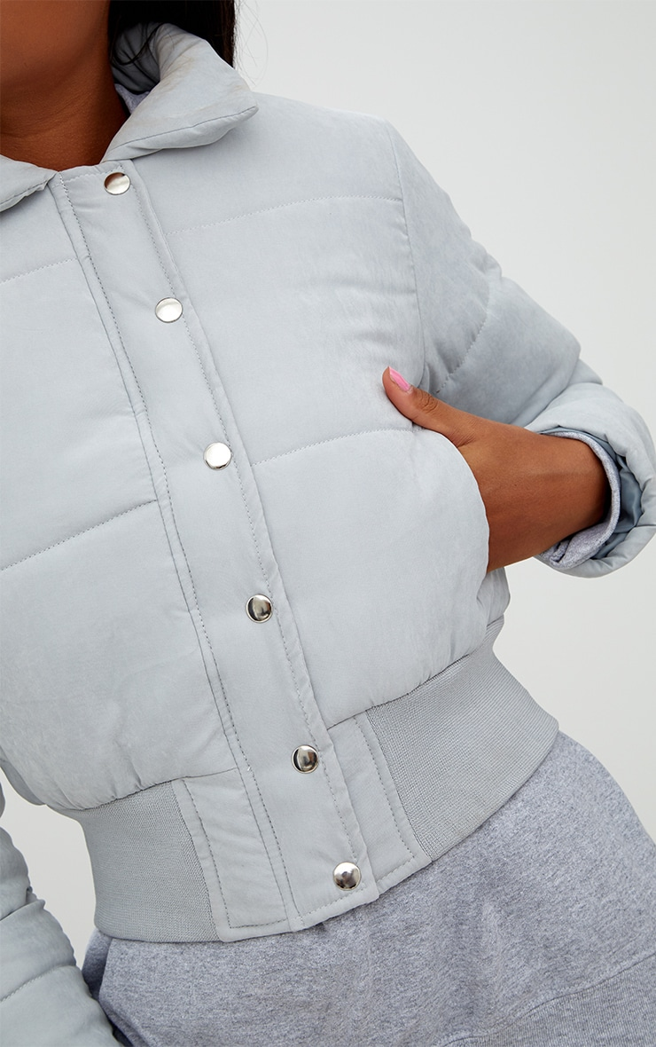 Grey Peach Skin Cropped Puffer Jacket 5
