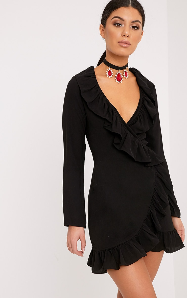 Neeko Black Frill Wrap Shift Dress 1