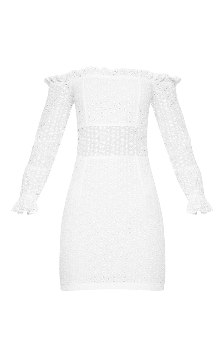 White Broderie Anglaise Bardot Bodycon Dress 3