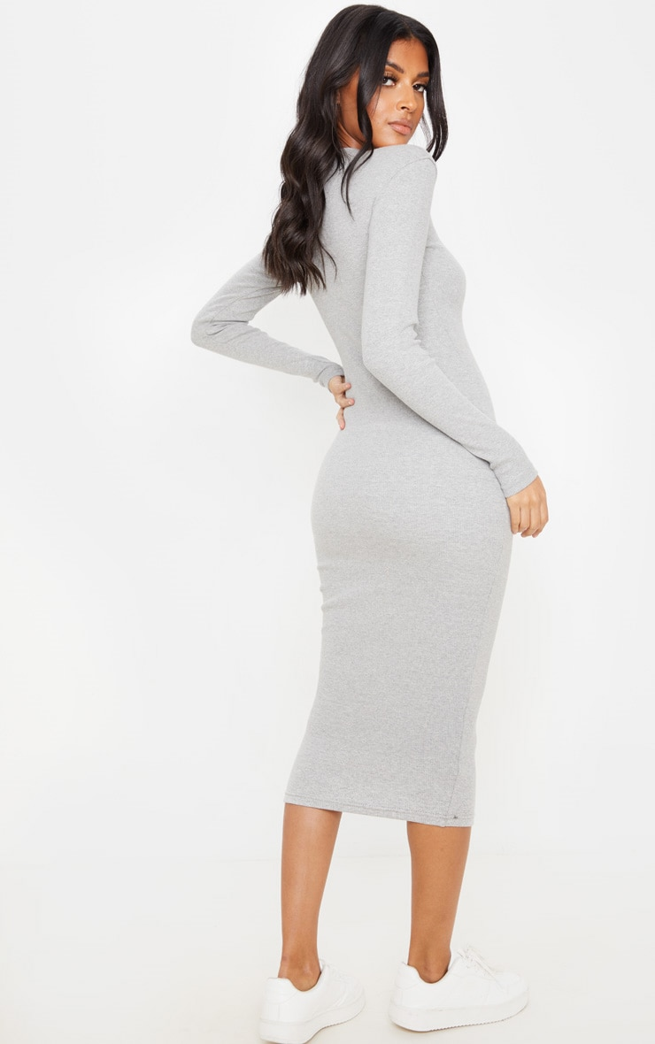 Grey Heavy Rib Long Sleeve Crew Neck Midi Dress 2