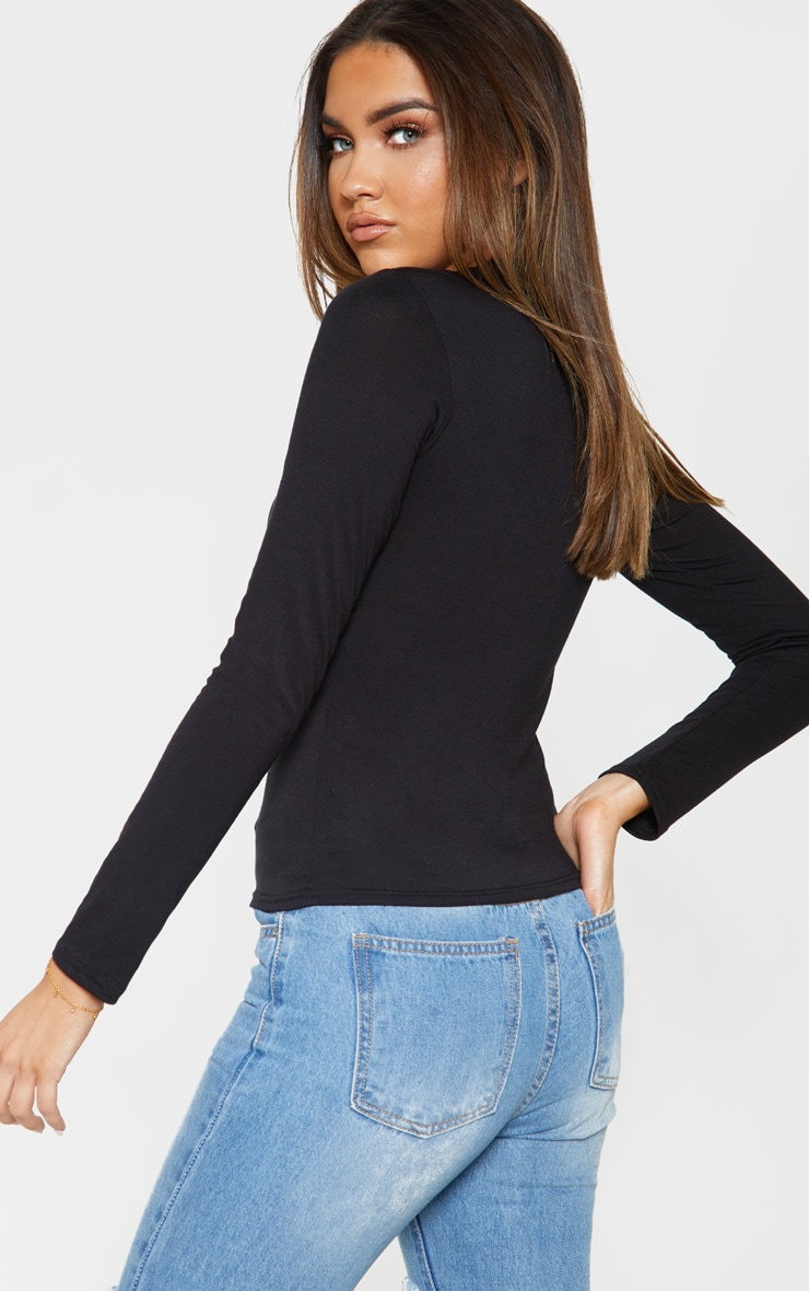 Black Jersey High Neck Long Sleeve Top 2