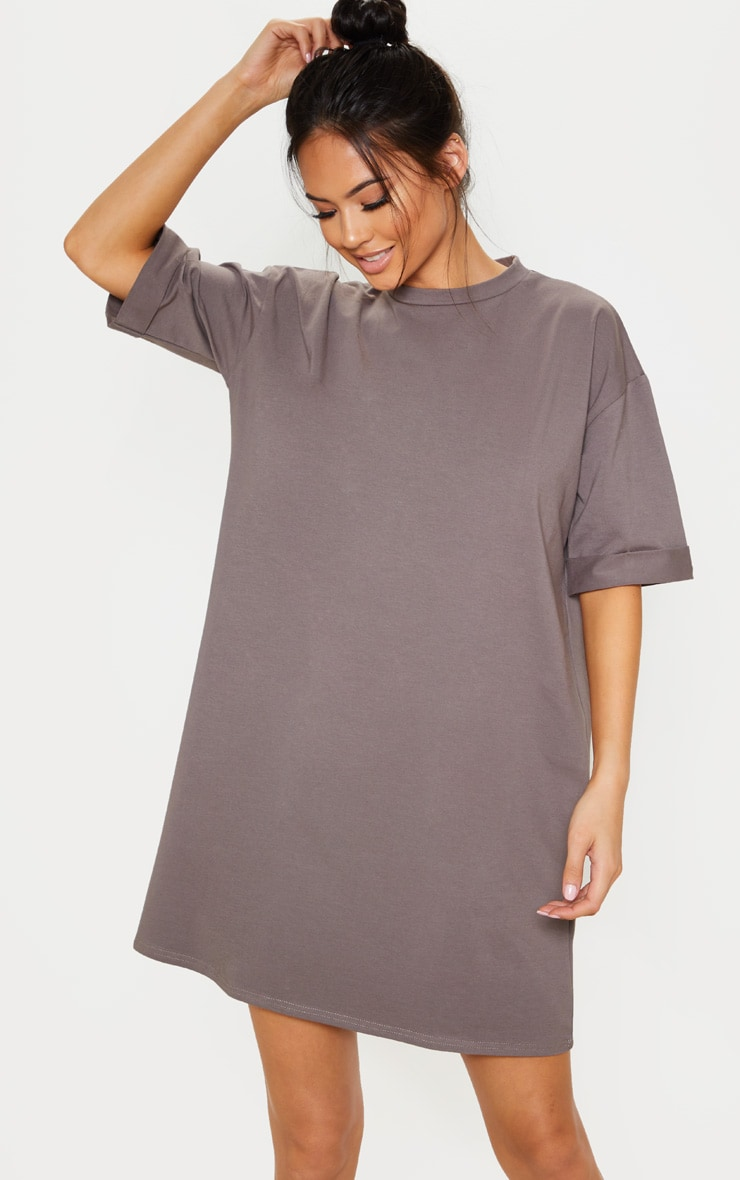 Charcoal Oversized Boyfriend T Shirt Dress 1