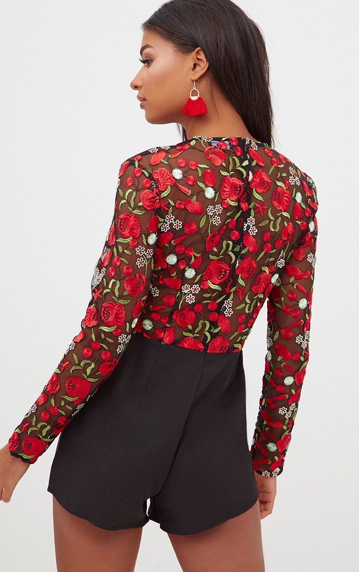 Red Long Sleeve Embroidered Playsuit 2