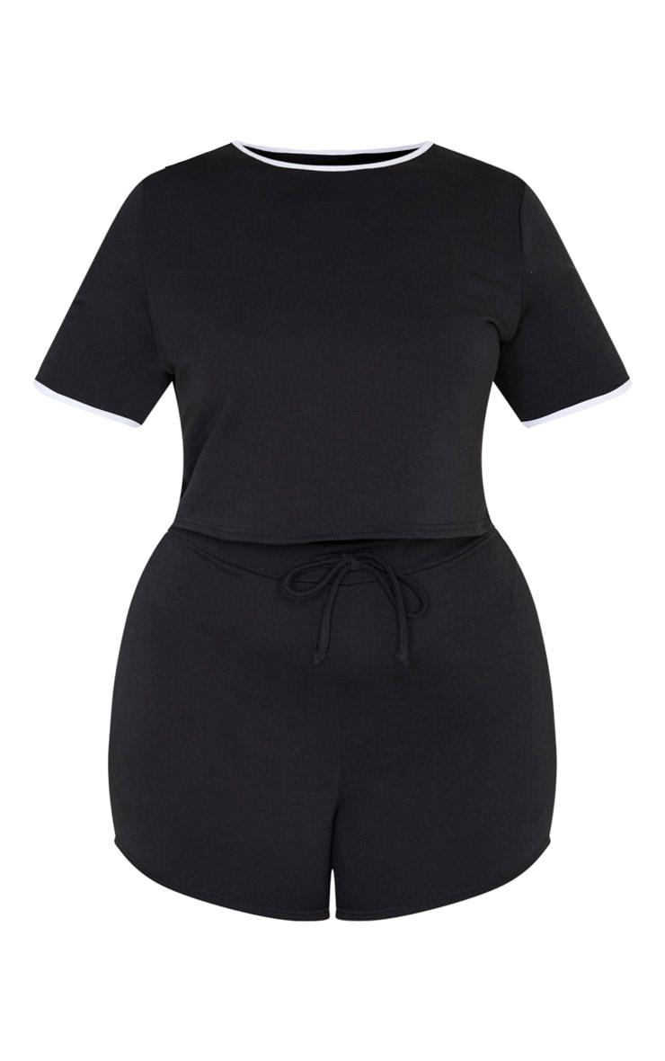 PRETTYLITTLETHING Plus - Ensemble de pyjama noir short + tee-shirt 3