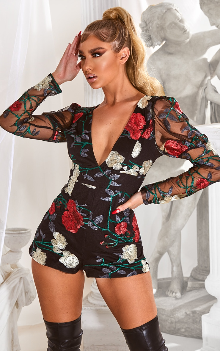 Black Embroidered Mesh Puff Sleeve Playsuit 1