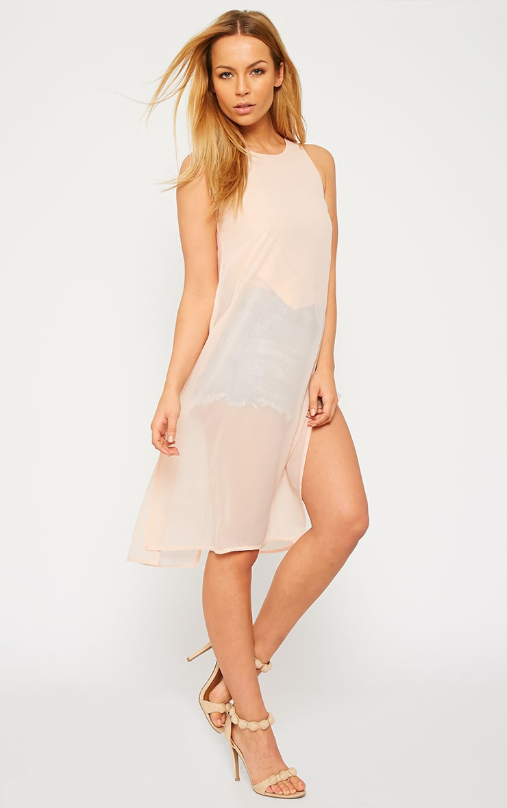Cecile Nude Sleeveless Chiffon Top 1