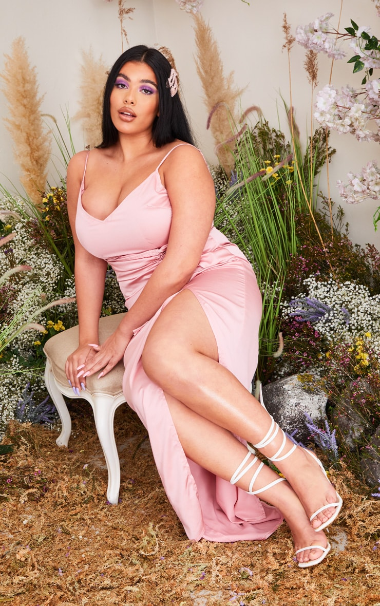 Plus Dusty Pink Satin Corset Waist Maxi Dress 1