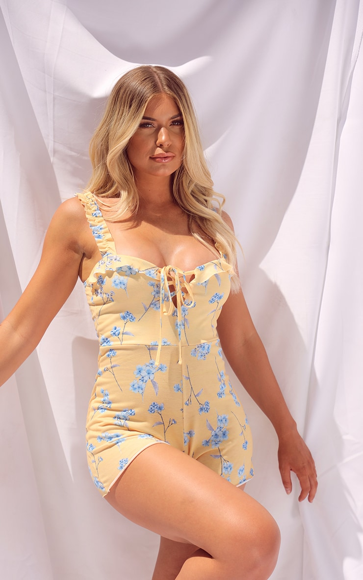Yellow Ditsy Floral Print Playsuit 3