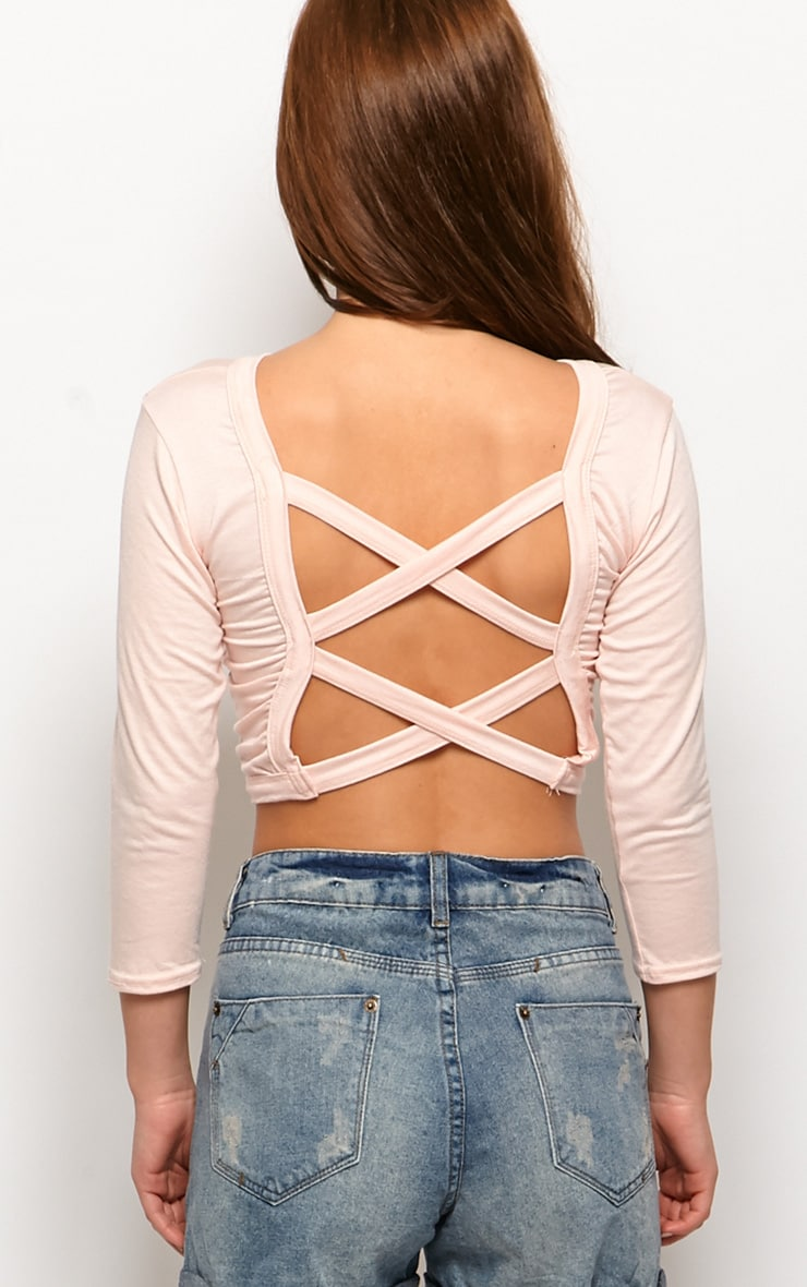 Kate Pink Cross Back Crop Top 2