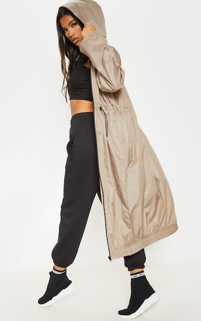 Stone Maxi Hooded Windbreaker