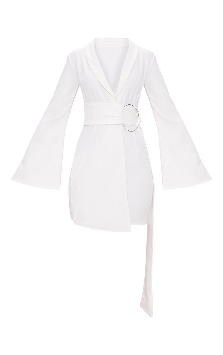 White Oversized Ring Detail Blazer Dress 2