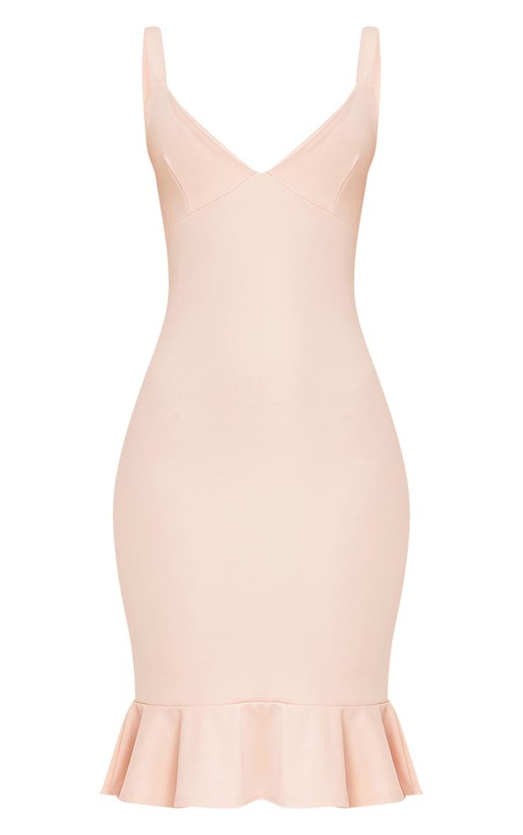 Mikaela Nude Plunge Frill Hem Midi Dress 3
