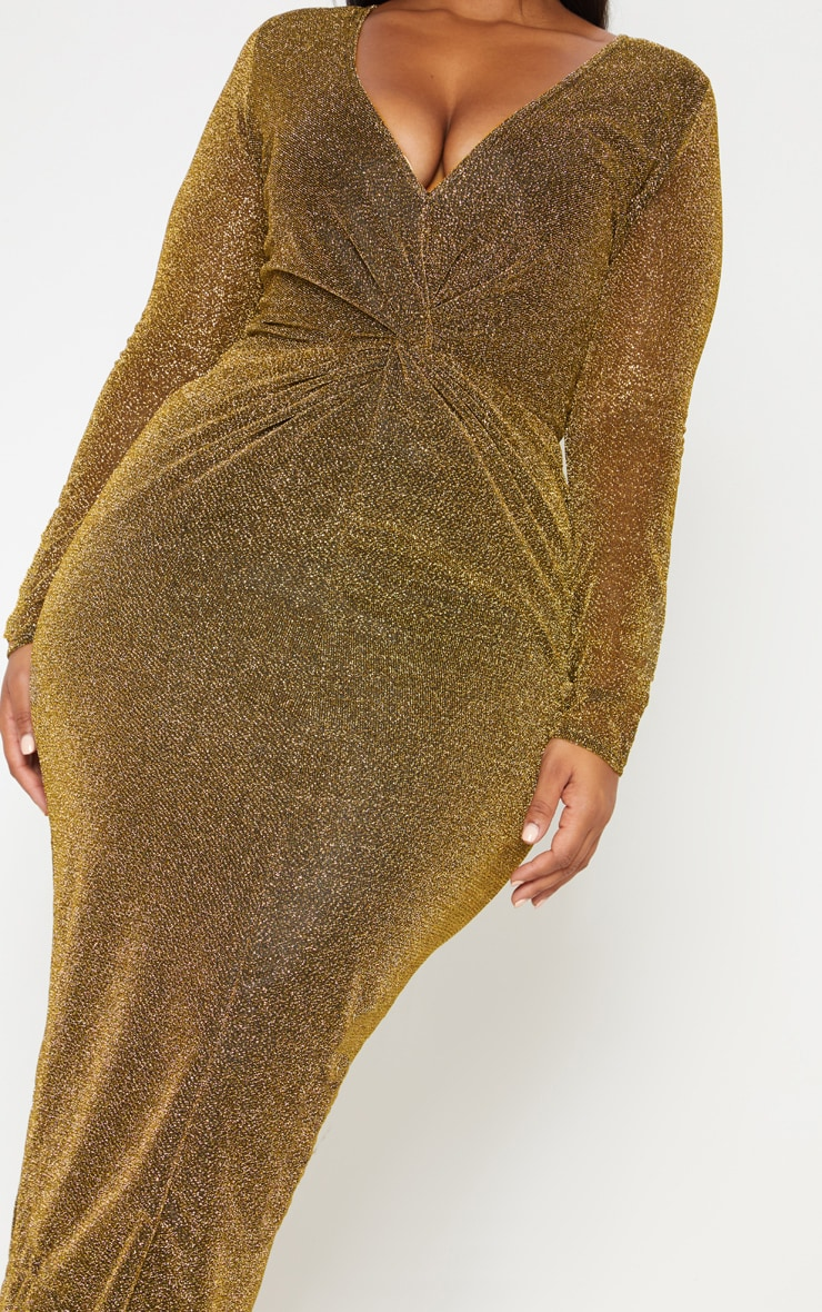 Gold Textured Glitter Plunge Knot Detail Maxi Dress 6