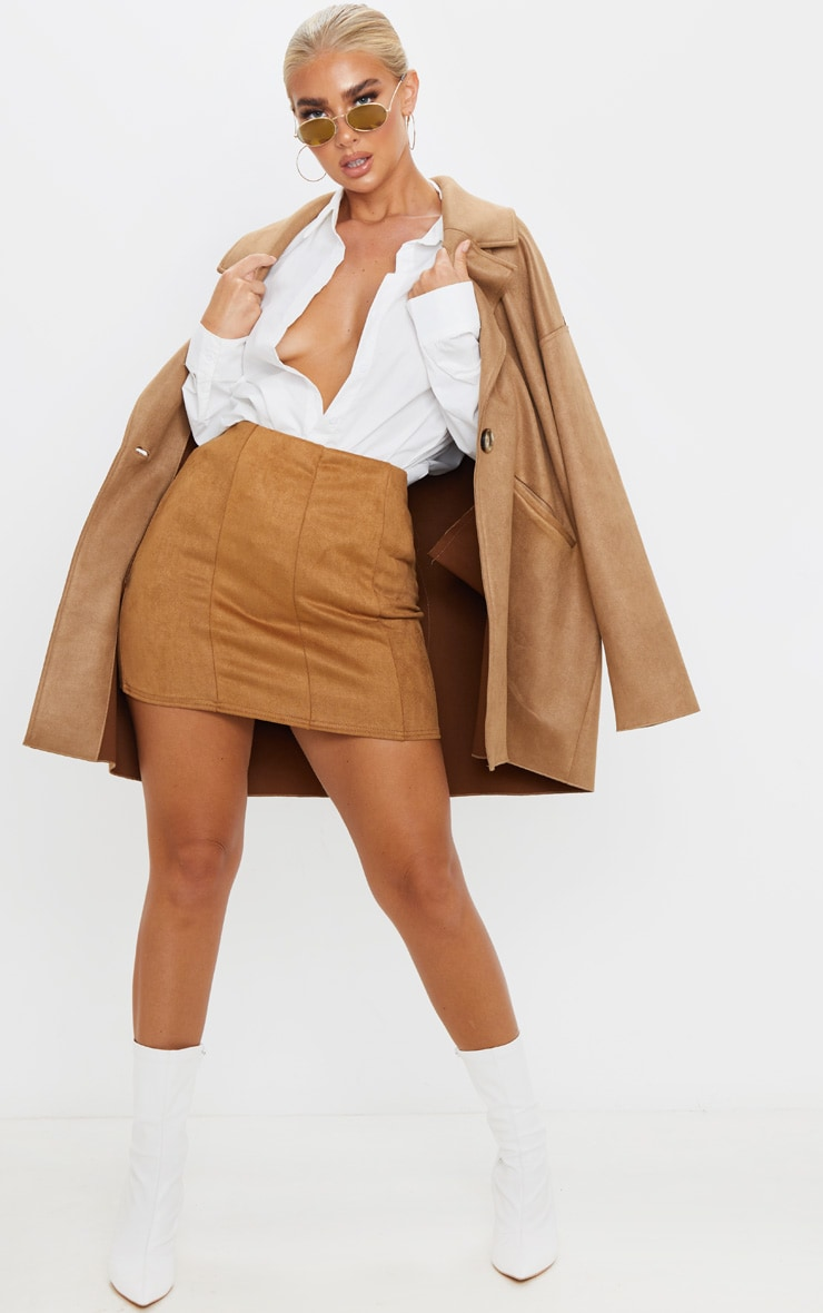 Camel Faux Suede Seam Detail Mini Skirt 5