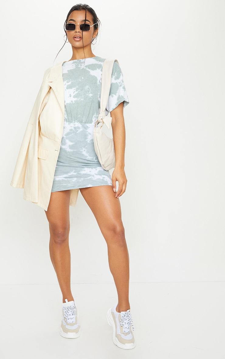 Sage Green Tie Dye Elastic Waist T Shirt Dress 3