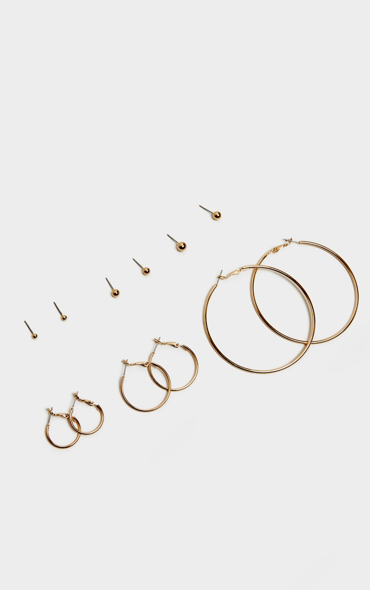 Gold Multi Pack Stud and Hoop Earrings 1