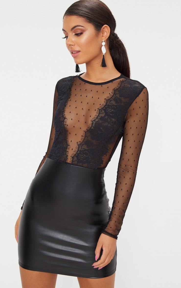 Black Lace Top Long Sleeve PU Bodycon Dress  1