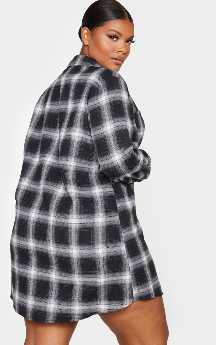 Plus Black Checked Oversized Shirt Dress 2