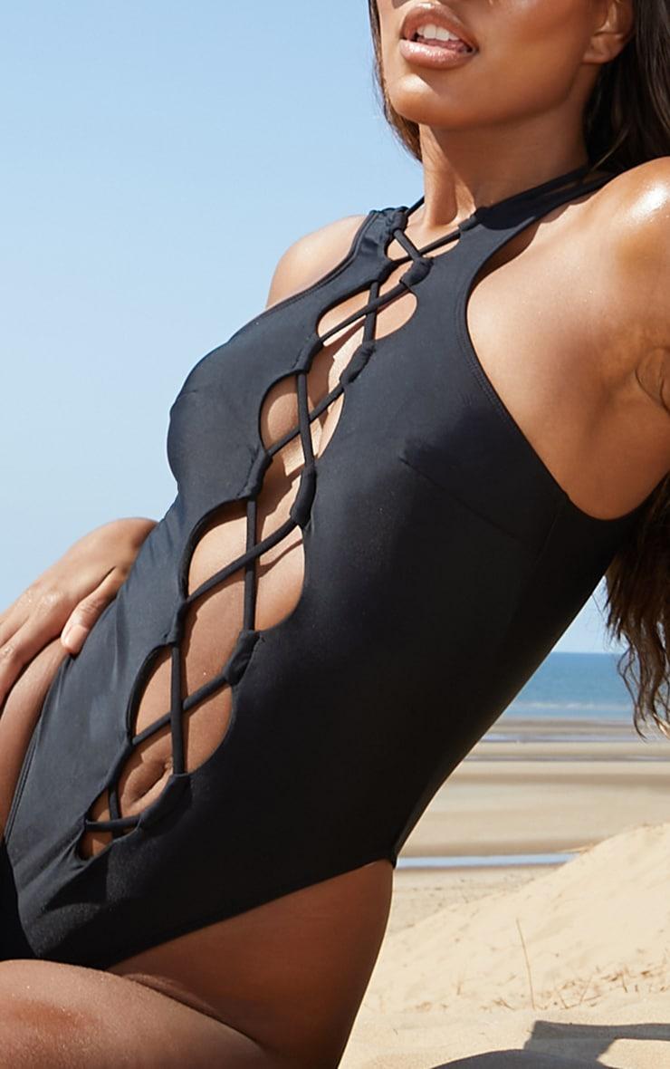 Black Lace Up Front Swimsuit 4