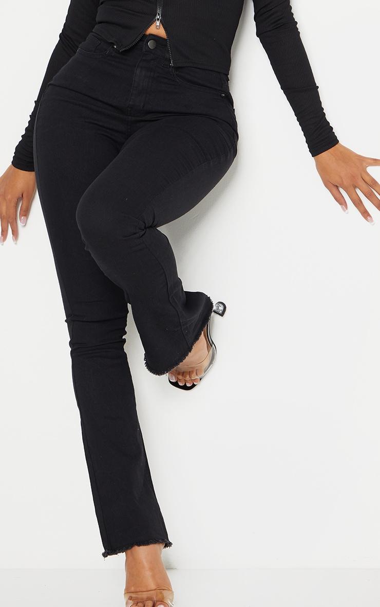 Shape Black Stretch Fray Hem Flared Jean 4