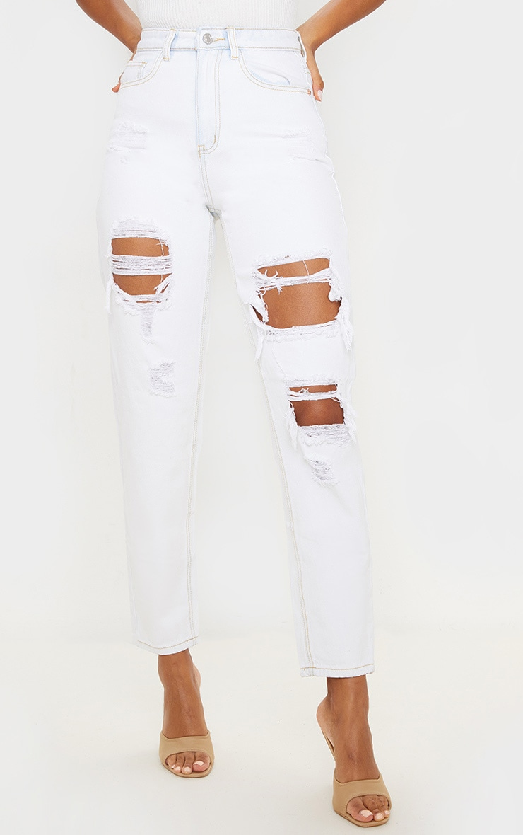 PRETTYLITTLETHING Bleach Wash Distressed Mom Jean 2