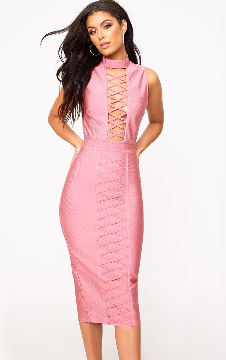 Rose Criss Cross Bandage Midi Dress 1