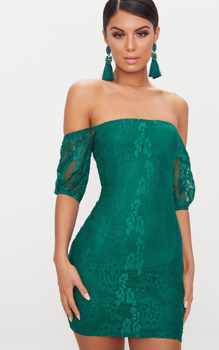 Emerald Green Lace Bardot Puff Sleeve Bodycon Dress 1