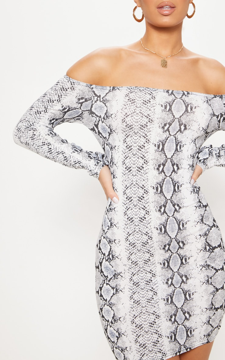 Grey Snake Print Long Sleeve Bardot Bodycon Dress 5