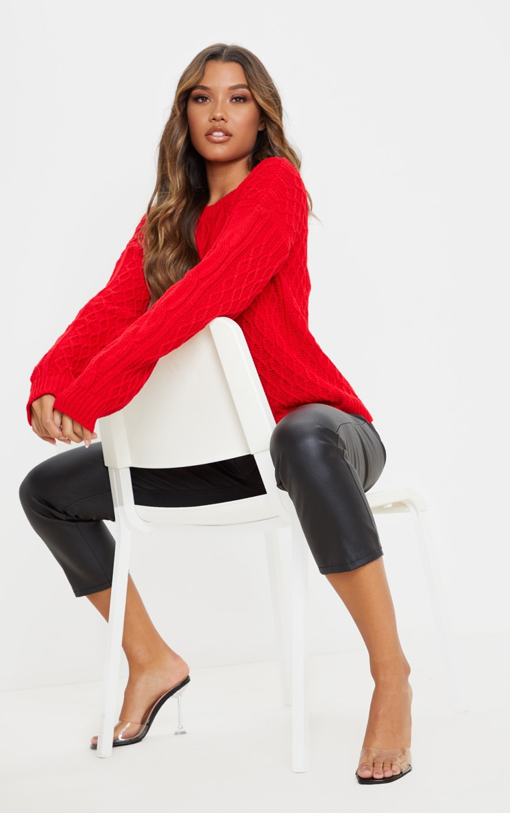 Red Slouchy Cable Knit Sweater 4
