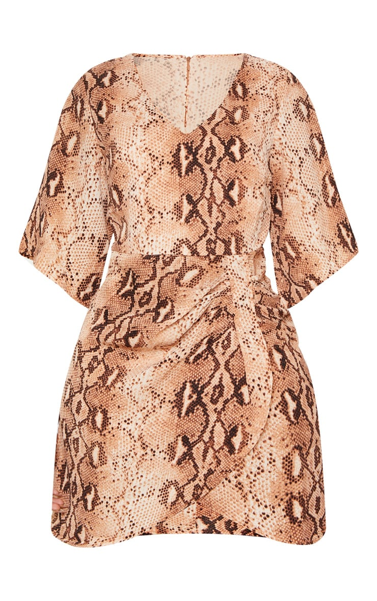Brown Chiffon Snake Print V Neck Ruched Front Dress 3