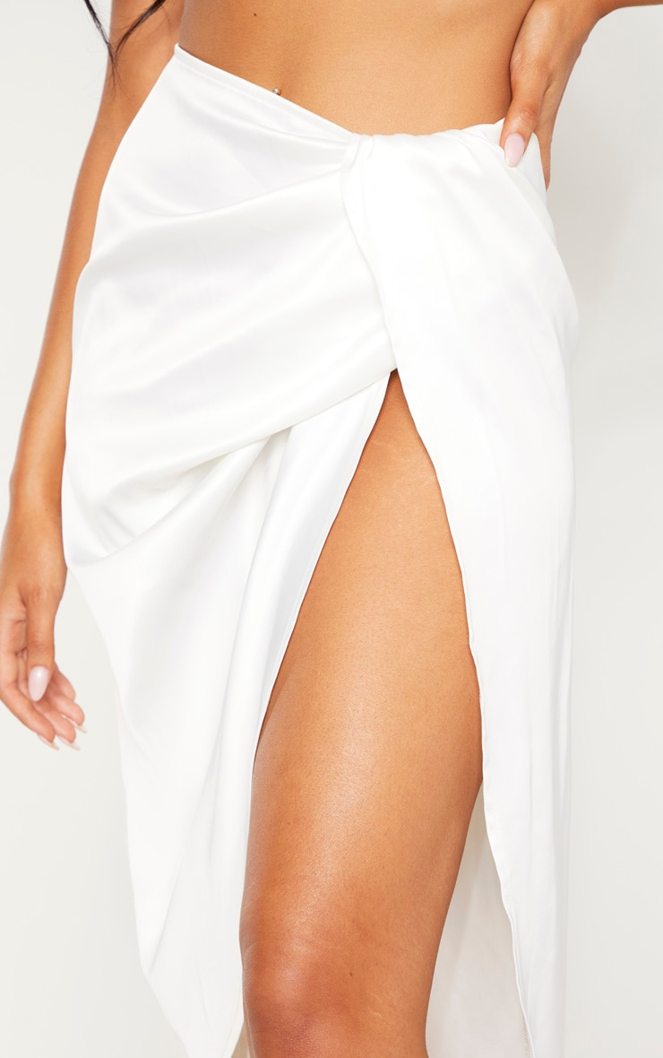 White Satin Twist Front Midi Skirt  5