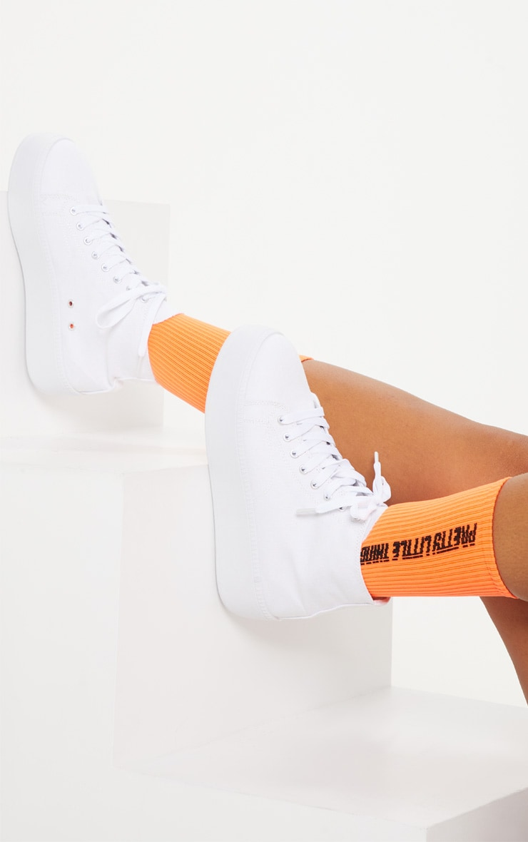 White Flatform High Top Trainer