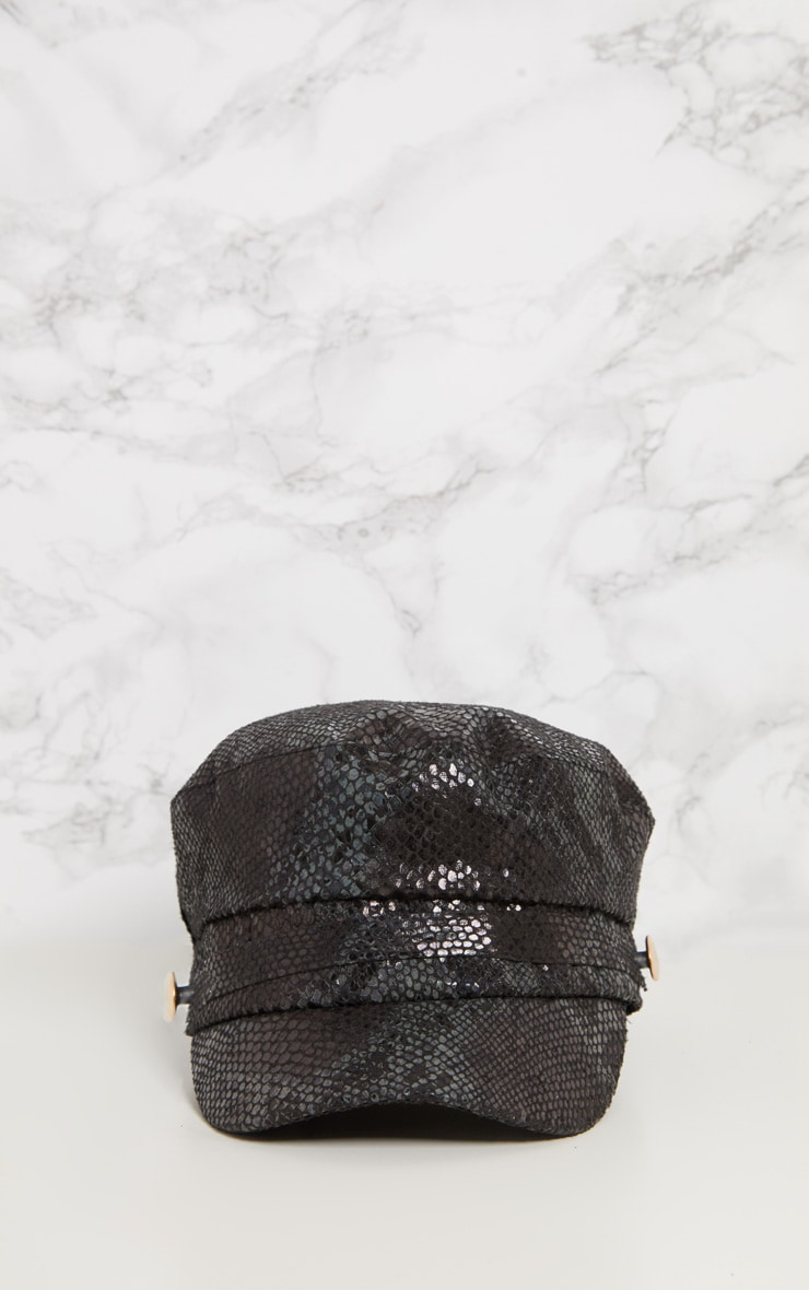 Black Snake Baker Boy Hat 3