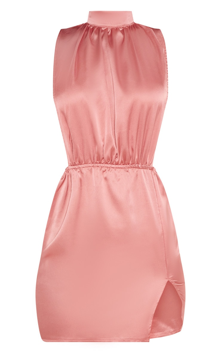 Rose Satin High Neck Side Boob Bodycon Dress 3