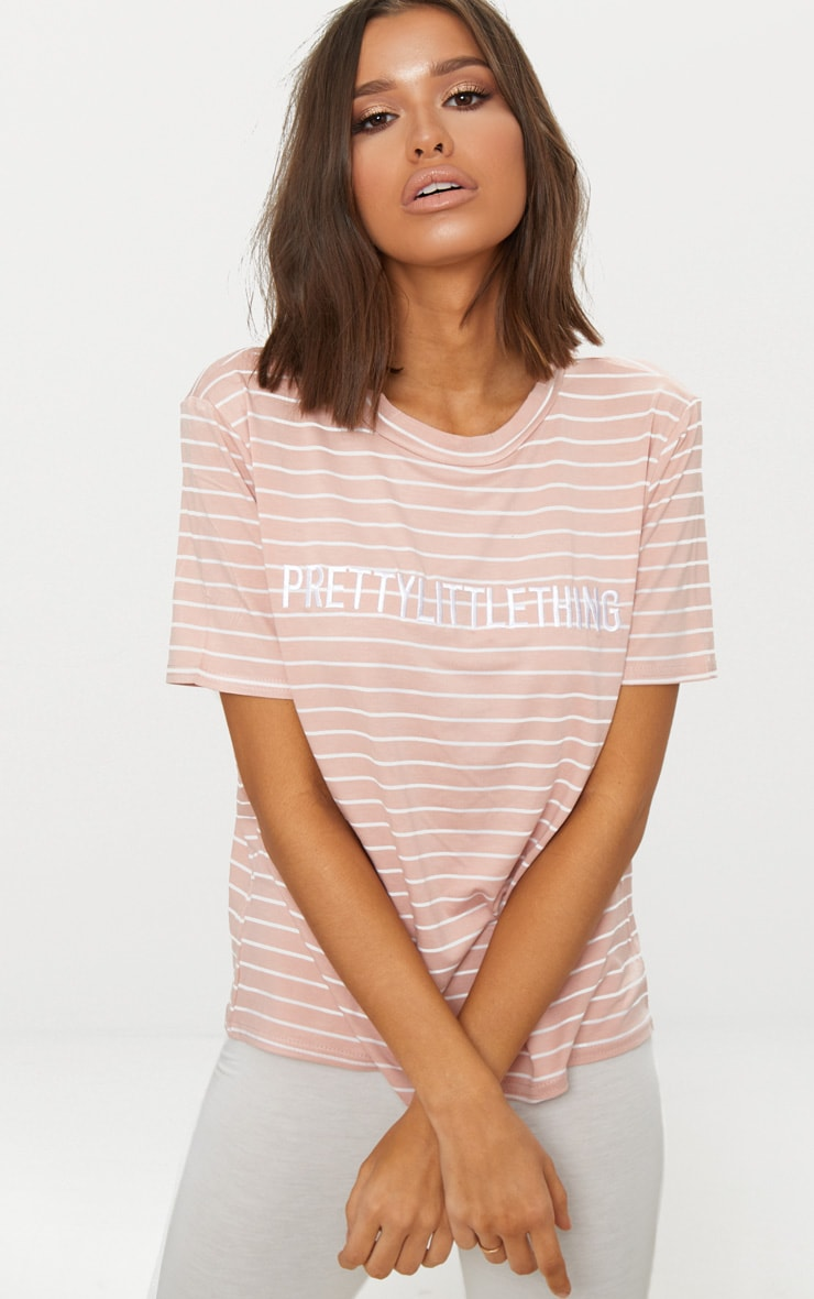 PRETTYLITTLETHING Baby Pink Embroidered Stripe T Shirt  1