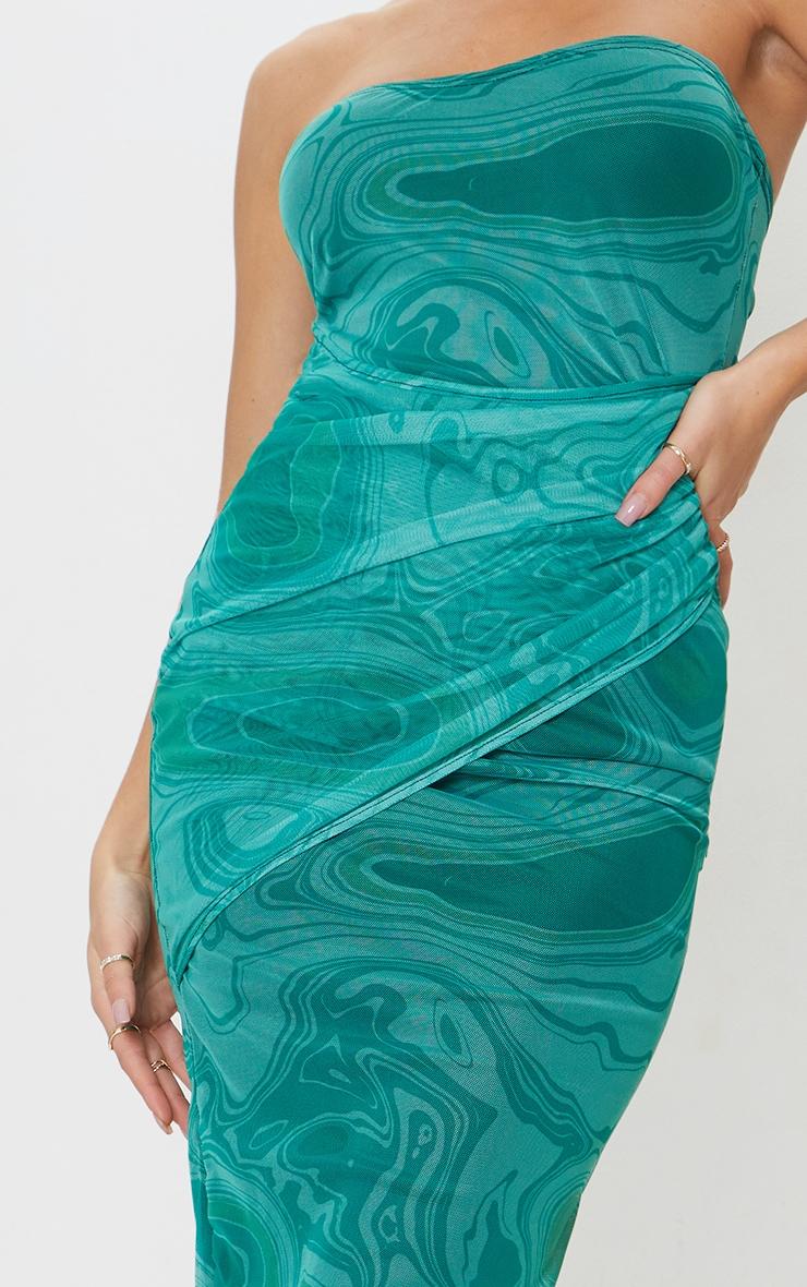 Green Marble Print Mesh Bandeau Drape Midi Dress 4