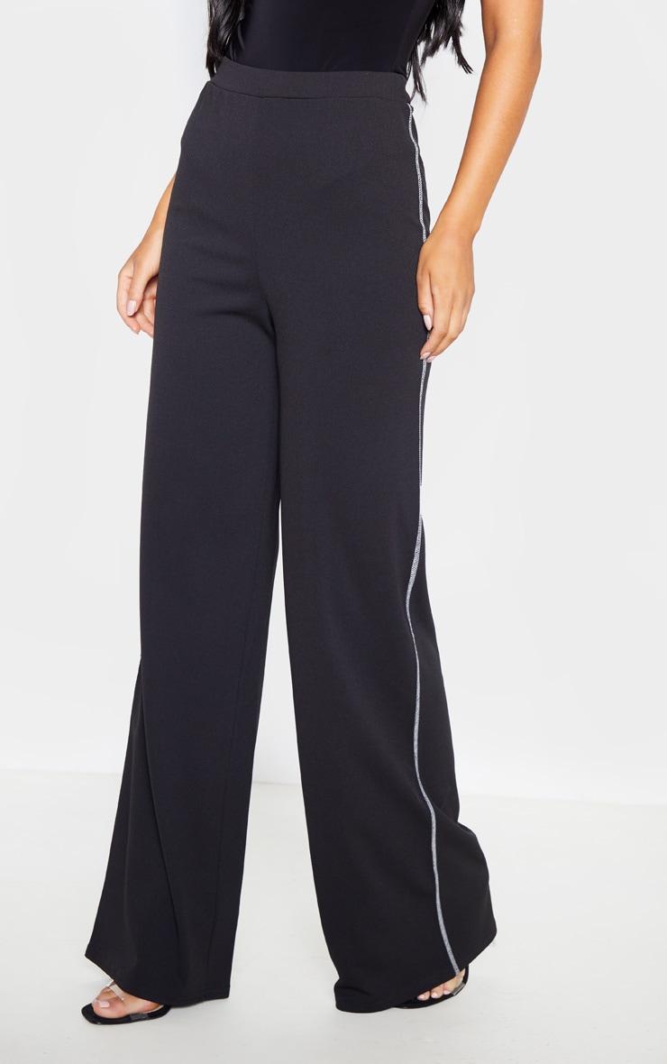 Black Crepe Contrast Stitch Wide Leg Pants 2