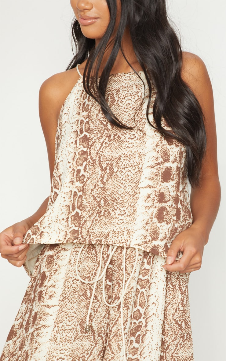 Petite Brown Snake Print Floaty Tie Back Top 5