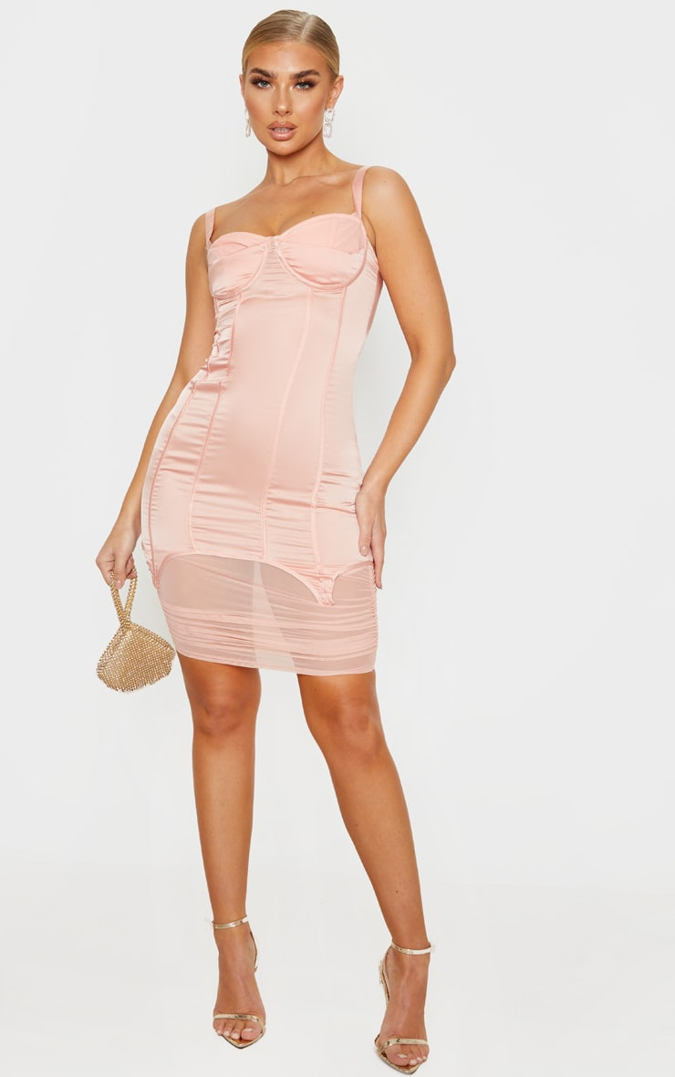 Blush Satin Corset Detail Mesh Insert Midi Dress 4